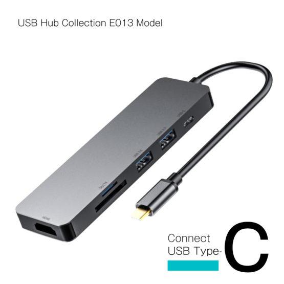 WEB限定販売 USBハブ USB3.1 Gen1 タイプC接続 USB−A×2ポート HDMI SD マイクロSD タイプCポート E013モデル