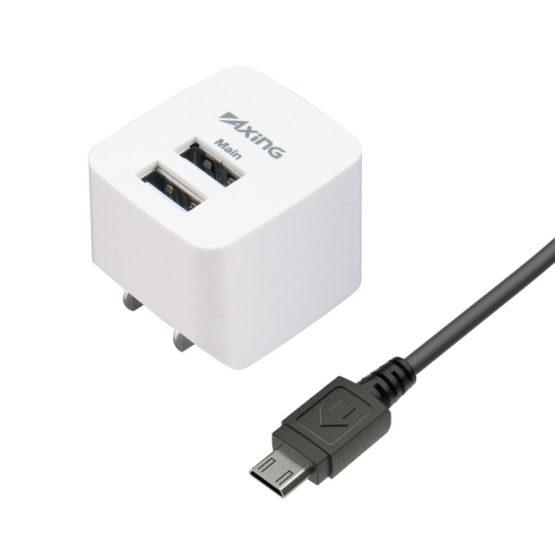 コンセントチャージャー 2.4A マイクロUSBケーブル付属 USB−A×2ポート A54SUモデル