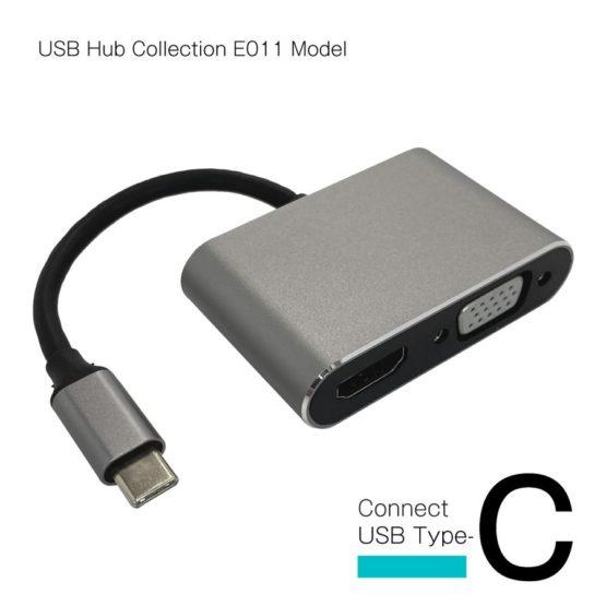 WEB限定販売 USBハブ 映像出力 HDMIポート4K/30Hz VGA タイプC接続 E011モデル
