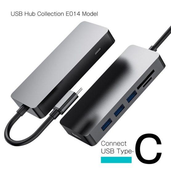 WEB限定販売 USBハブ USB3.1 Gen1 タイプC接続 USB−A×3ポート HDMI SD マイクロSD タイプCポート E014モデル