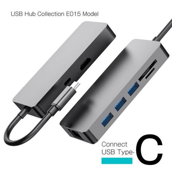 WEB限定販売 USBハブ USB3.1Gen1 タイプC接続 USB−A HDMI LAN SD マイクロSD タイプCポート E015モデル