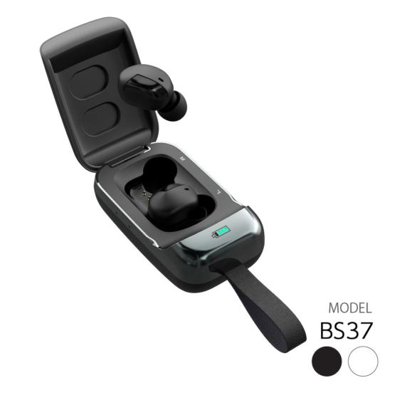 完全ワイヤレスイヤホン 抗菌 IPX4防水 Bluetooth Ver5.0 テレワーク マイク付き BS37Qモデル